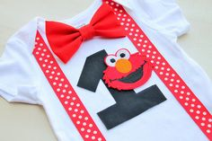 Elmo Birthday Outfit Cake Smash Outfit Baby by CrestlineCreatives *instead use Mickey face :)