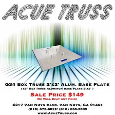 Heavy-duty 2'x2' Aluminum Base Plate for professional lighting trusses, includes couplers and pins. TUV certified, compatible with most other truss brands. Professional DJ equipment, stage and event lighting.