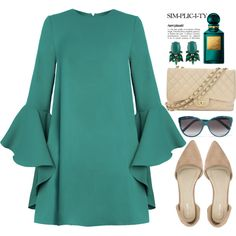 Bell Sleeved Short Dress by bmaroso on Polyvore featuring Nly Shoes, Chanel, Chloé and Tom Ford