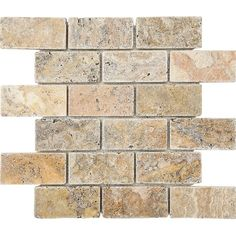 """Scabos Tumbled 2"""" x 4"""" Stone Mosaic Tile"""