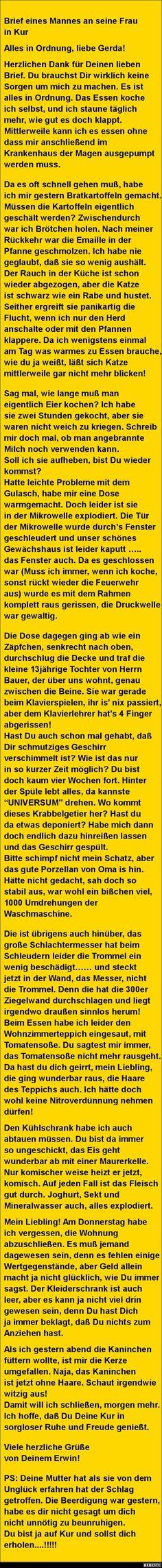 Brief eines Mannes an seine Frau in Kur.. | DEBESTE.de, Lustige Bilder, Sprüche, Witze und Videos