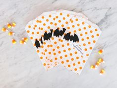 Invite your favorite kids over for a Halloween party filled with treats — no tricks. Well, maybe just one trick: ask everyone to come dressed in costume, even the family pet. Halloween Treat Bags, Halloween Party Costumes, Holidays Halloween, Halloween Diy, Happy Halloween, Fall Party Invitations, Invites, Party Favors, Fall Party Games