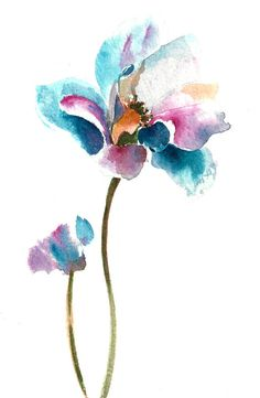 Flower Original Watercolor Painting, Pink and Blue, Flower Art, Painting of Flower One of a Kind Watercolour Art Scale: 8x10 Medium: top branded watercolor paints on Canson water color cold press paper 140 lb (300g) Signed front and back Dated on the back. Not framed. All paintings are