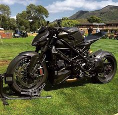 Blacked out Ducati Streetfighter with Double Dog's subframe