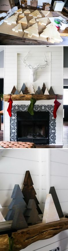 Christmas is a magical time to celebrate with family and decorate the house using bright and joyful colors. Some people never change their Christmas Christmas Tree Crafts, Christmas Mantels, Rustic Christmas, Winter Christmas, Holiday Crafts, Christmas Time, Christmas Ideas, Christmas 2017, Christmas Party Decorations Diy