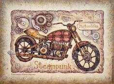 """Купить Картина в раме """"Стимпанк-мотоцикл"""" - коричневый, бежевый, черный, мотоцикл, стимпанк, мужчине"""
