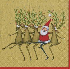 Caspari Santa's Kickettes Gold Dancing Reindeer Printed 3-Ply Paper Cocktail Beverage Napkins Wholesale 13381C
