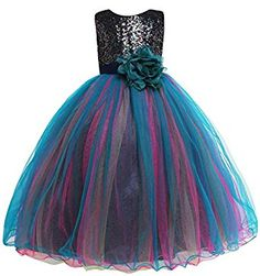 33d6cd0d322 Amazon.com  Amberry Little Big Girl s Sequined Party Dress  Clothing