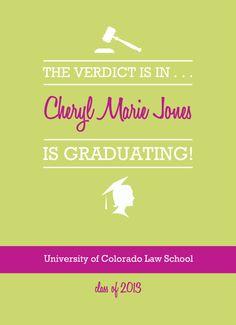 Law School Graduation Invites - Law School Graduation Invitation Pale Green and Magenta