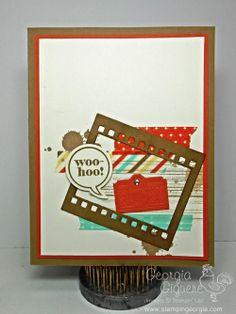 Just Sayin' Whoo-hoo for this Fun Grad Card  Check out this fun idea using the On Film framelits and the Just Sayin' stamps/Word Bubble framelit bundle!  Details on my blog today!