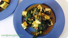 Con pan y postre: Tofu con espinacas, pasas y piñones
