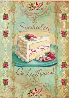 chocolate cake illustraion decoupage