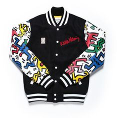 DIY possibly? I wouldn't be able to afford this otherwise LOL Joyrich x Keith Haring MAN & DOG VARSITY JACKET at Shop Jeen | SHOP JEEN