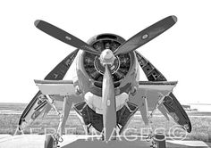 Grumman Avenger Fighter Aircraft, Wings Folded, WWII Plane BW Print 5x7 or 8x10