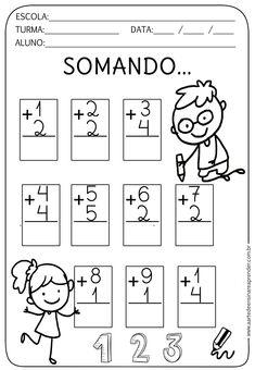 Kindergarten Addition Worksheets, Kindergarten Math Worksheets, Preschool Learning Activities, Preschool Math, First Grade Math, Math For Kids, Kids Education, Math Lessons, Literacy