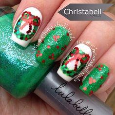 Christabell Christmas wreath nail art