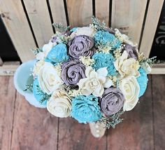 Handmade Alternative Wedding Bouquet - Large Turquoise Gray Ivory Bridal Bridesmaid Bouquet, Fall Wedding Natural Bouquet, Keepsake Bouquet