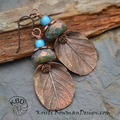 Copper Leaf and Chunky Czech Glass Earrings by KristiBowmanDesign
