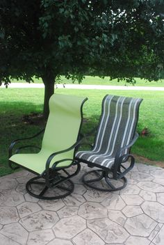 """I recovered sling back chairs that were given to me!! EASY!!   I got """"Phifertex Plus Vinyl Mesh"""" fabric from sail rite.com    about 16...."""