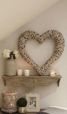 Extra large grey willow heart wreath decor wicker hearts, home decor, hygge Decor, Room Diy, Wreath Decor, Living Room Diy, Living Room Designs, Barn Interior, Wicker Hearts, Room Design, Hallway Decorating