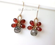 Gemstone Mushroom Earrings, Black Rutilated Quartz Heart Briolettes, Pyrope Red Garnet Drop Briolettes, Gold-filled Wire and Earwires. E125. on Etsy, $49.00