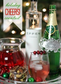 Rudolph's Shiny Red Cocktail 3 oz Vodka 1/2 cup Cranberry Juice 1/2 cup Sparkling White Grape Juice Fresh cranberries for garnish. Combine ingredients over ice, and garnish with several fresh cranberries threaded onto a pick.