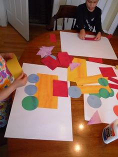 Good idea for children too young to cut their own shapes////transportation shape collages
