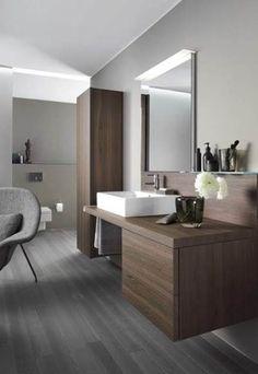 Modern White Brown Stylish Wooden Bathroom Designs With Flower