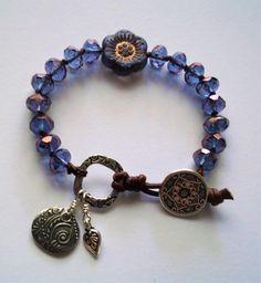 Blue flower boho knotted Czech glass bracelet by SeptemberMoonStudio on Etsy