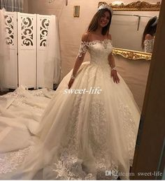 New Arrival Wedding Dresses Ball Gown 2019 robe de mariage Boat Neck Lace Long Sleeve Tulle Bridal Gowns Luxury Wedding Dress, Long Wedding Dresses, Long Sleeve Wedding, Wedding Dress Sleeves, Princess Wedding Dresses, Cheap Wedding Dress, Bridal Dresses, Gown Wedding, Dress Lace