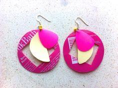 JB plastic bottle earrings by RecycleSister on Etsy