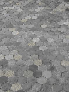 Hexagon Pavers in a dark color blend. Made out of recycled stone. www.EcoGraniteGroup.com