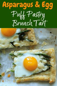 Asparagus Tart with Egg and Goat Cheese (on puff pastry) – a great vegetarian addition to your breakfast, brunch or appetizer table spread! Asparagus Tart, How To Cook Asparagus, Beef Recipes, Vegetarian Recipes, Cooking Recipes, Cookbook Recipes, Appetizers Table, Easy Cooking, Goat Cheese