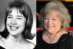Kathy Bates as a Senior at White Station High School in Memphis, Tennessee, in 1966 and Kathy Bates in 2012