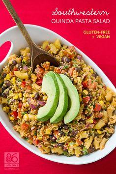 Southwestern Quinoa Pasta Salad (vegan, gf)Made this and it is yummy Quinoa Pasta, Pasta Salad, Quinoa Salad, Vegetarian Recipes, Healthy Recipes, Healthy Foods, Vegetarian Cooking, Vegan Foods, Free Recipes