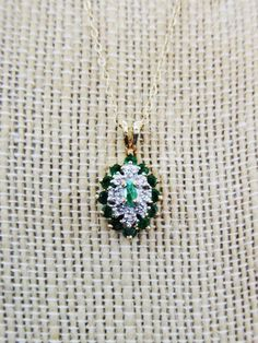 SOLD $130.00 14K Yellow Gold EMERALD & Diamond NECKLACE by feathersoup on Etsy
