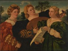 LAÚD Una mujer toca el laúd mientras sus compañeras cantan. La mujer de la derecha sostiene una partitura. School of Palma Vecchio, Lotto, Pordenone and Bonifazio. The dress indicates a date in the mid-1520s.