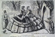 jpg This caricature shows the wide growth of the women's undergarment of a hoop skirt the crinoline cage that was worn under petticoats and dresses Victorian Illustration, Engraving Illustration, Victorian Women, Victorian Fashion, Crinoline Dress, Tailor Made Suits, Hoop Skirt, Second Empire, Fashion History