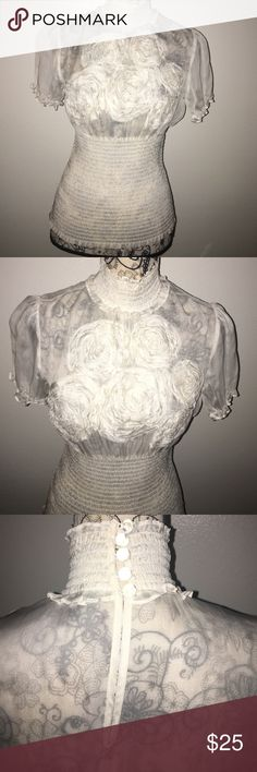 100% SILK BEBE BLOUSE 🌺🌸STUNNING FLORAL DETAIL This top is everything!!  Feminine, sweet and silk. Ruched waist, pearl like buttons in back, sheer with floral detail on bodice. Ruffled cap sleeves. STUNNING. Size medium bebe Tops Blouses
