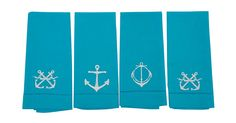 Click Pin it to share this product on Pinterest!     Each of the four cotton linen guest towels in this set is embroidered with an anchor design, adding a natty nautical flair to...