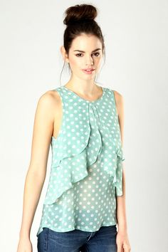Lizzie Water Fall Front Polka Dot Vest Top