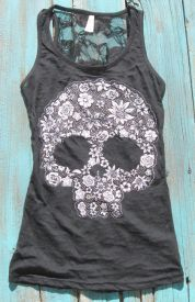 Sugar Skull Tank Top with rhinestones burn out with flower skull tattoo print and lace back $15.99