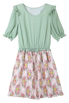 Dual-tone Green Floral Dress. Description Green dress, featuring a round neckline, short puff sleeves, tightened cuffs, dual-tone, pleated design on body, an elasticated, high-rise waist, flowers print on lower body, A-line dress. Fabric Polyester. Washing Cool hand wash. #Romwe