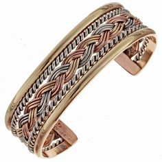 Navajo Silver Gold Bracelet Braided Copper Cuff By Tahe