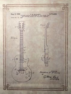 Patent Print - Electric Guitar - Antique style Paten Print on Fine Parchment Paper. Retro. Musician. Music. $7.99.