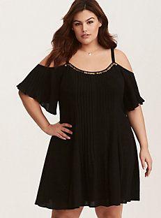 Black Embellished Gauze Cold Shoulder Trapeze Dress