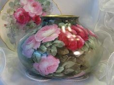 Pink Rose Victorian vase.