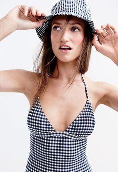J.Crew women's V-neck one-piece swimsuit in gingham seersucker and bucket hat in gingham.