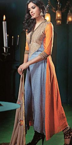 $102.87 Blue and Orange Embroidered Crepe Silk Pakistani Salwar Suit 24362