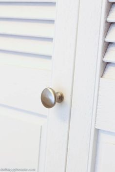 This little satin nickel knob was part of a closet makeover at The Happy Housie recently!